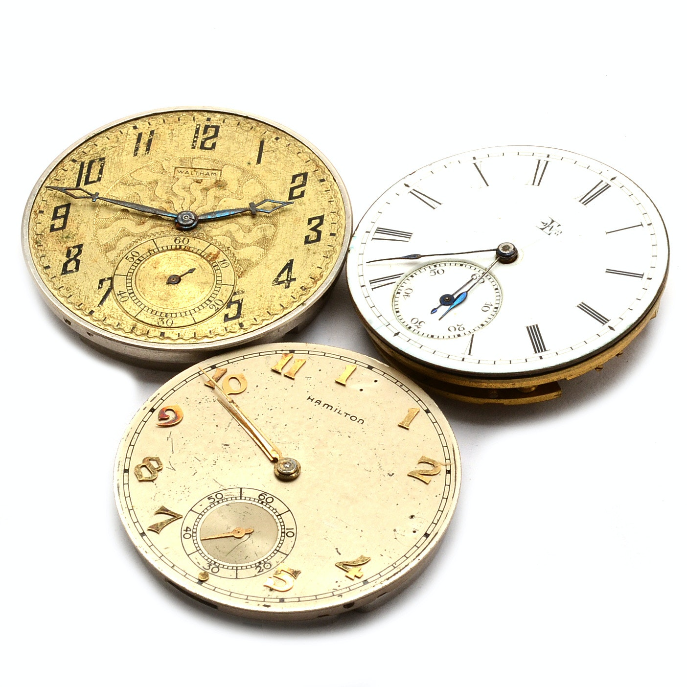 Three Pocket Watch Movements Including Waltham and Elgin