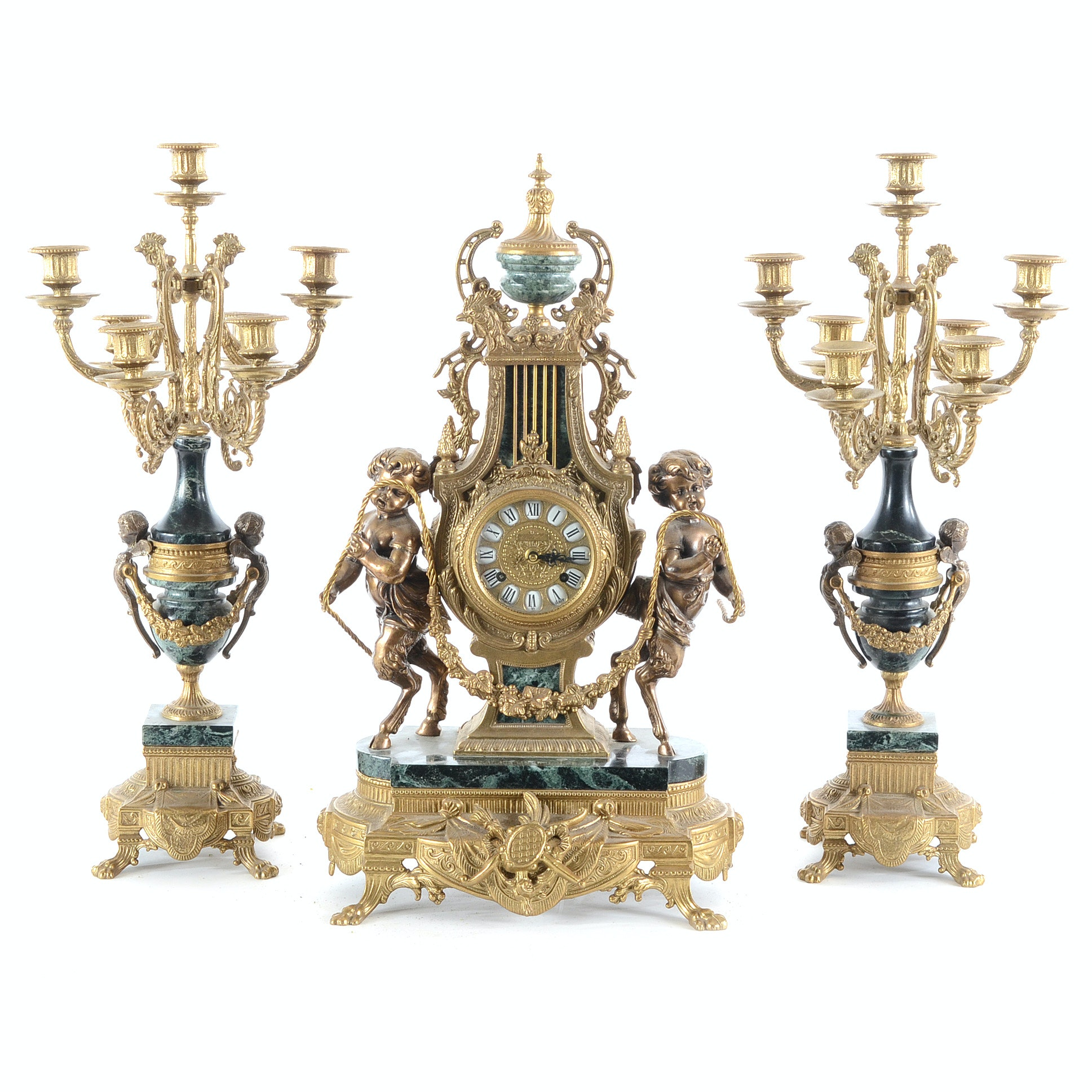 Imperial Mantle Clock With Pair Of Candelabras