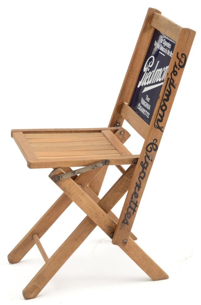 Piedmont Auto Sales >> Vintage Piedmont Folding Advertising Chair With Porcelain Back : EBTH