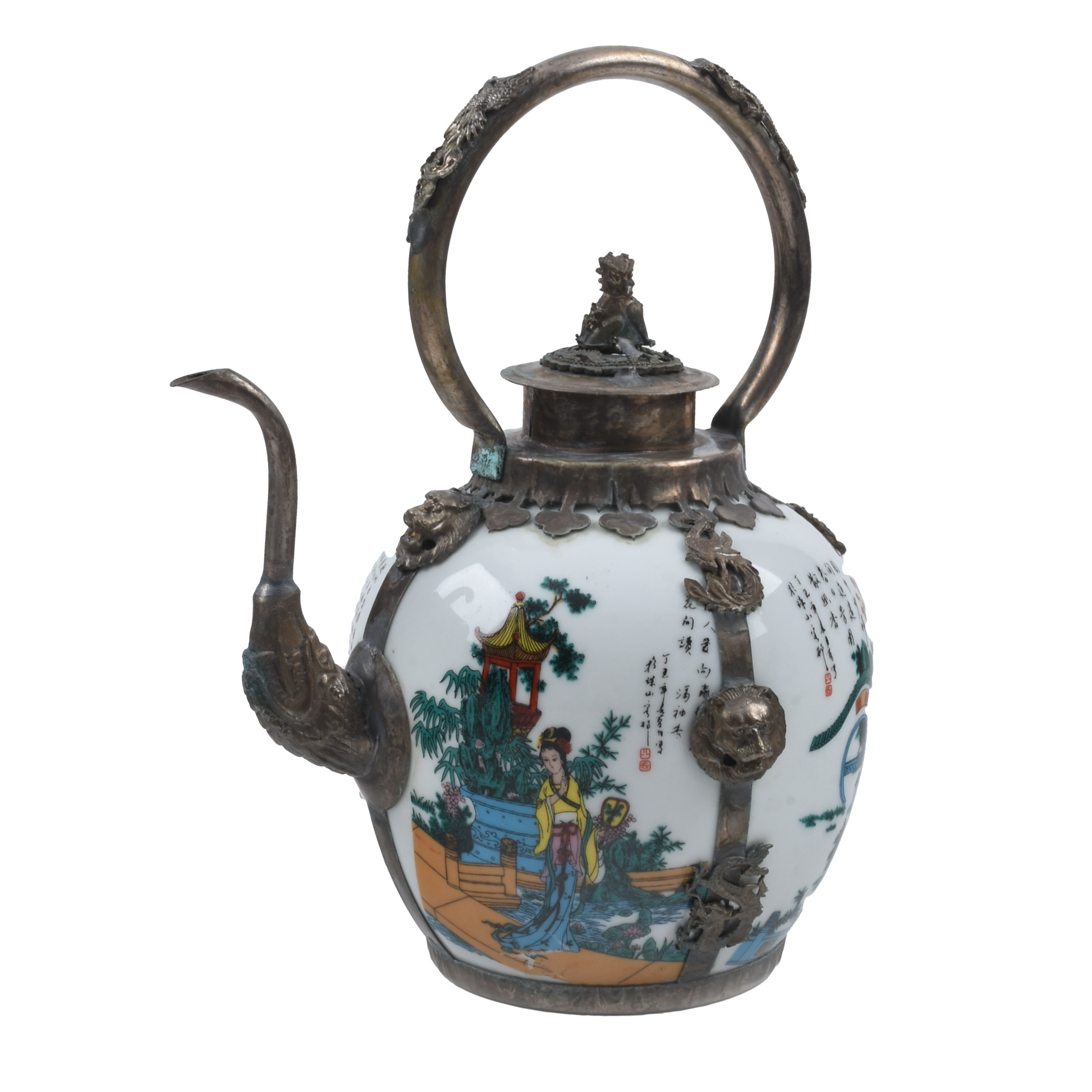 Antique Tibet Porcelain and White Metal Teapot