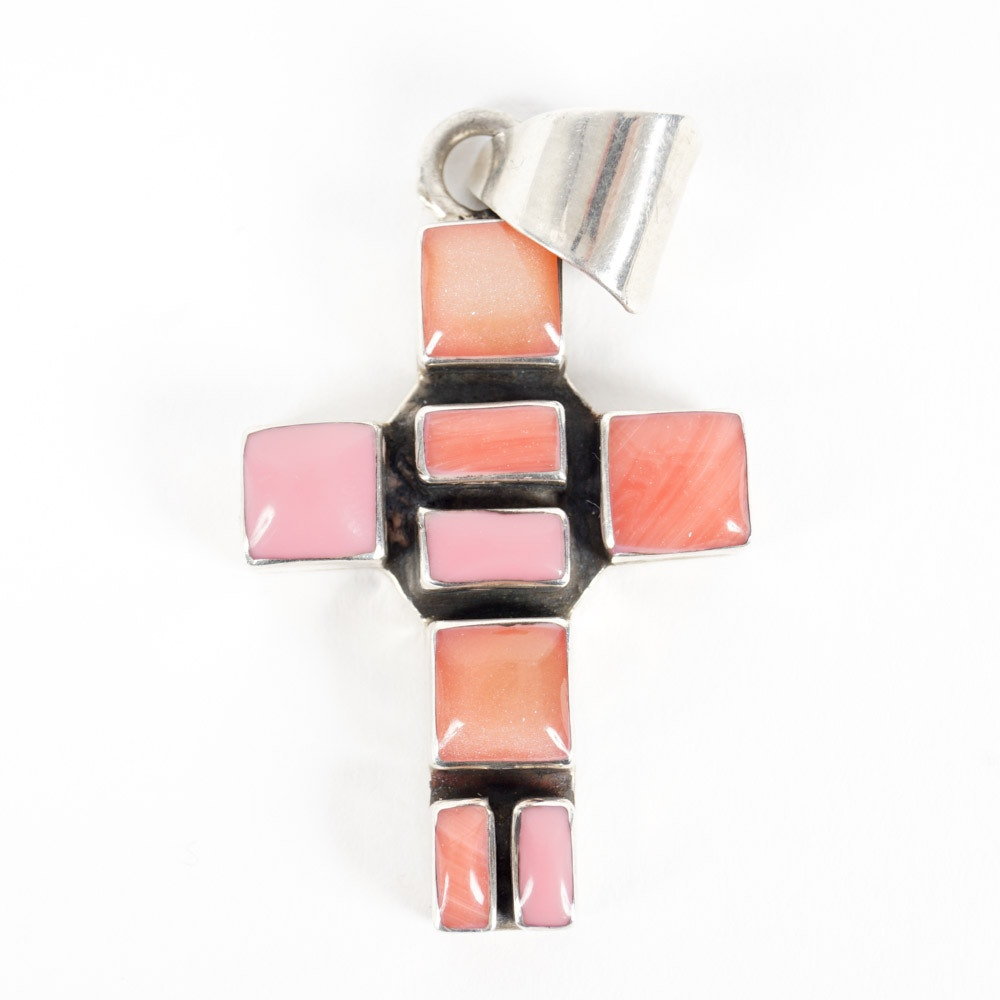 Sterling and Mother of Pearl and Spiny Oyster Shell Cross Pendant