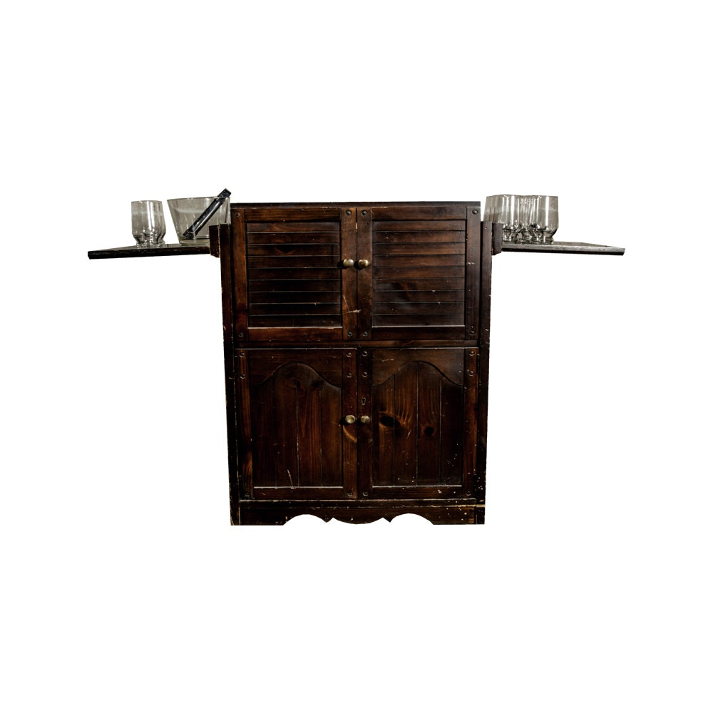 Flip Top Bar Server Cabinet With Bar Glassware Items