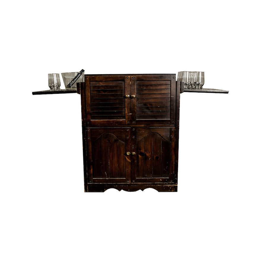 Flip Top Bar Server Cabinet With Glware Items