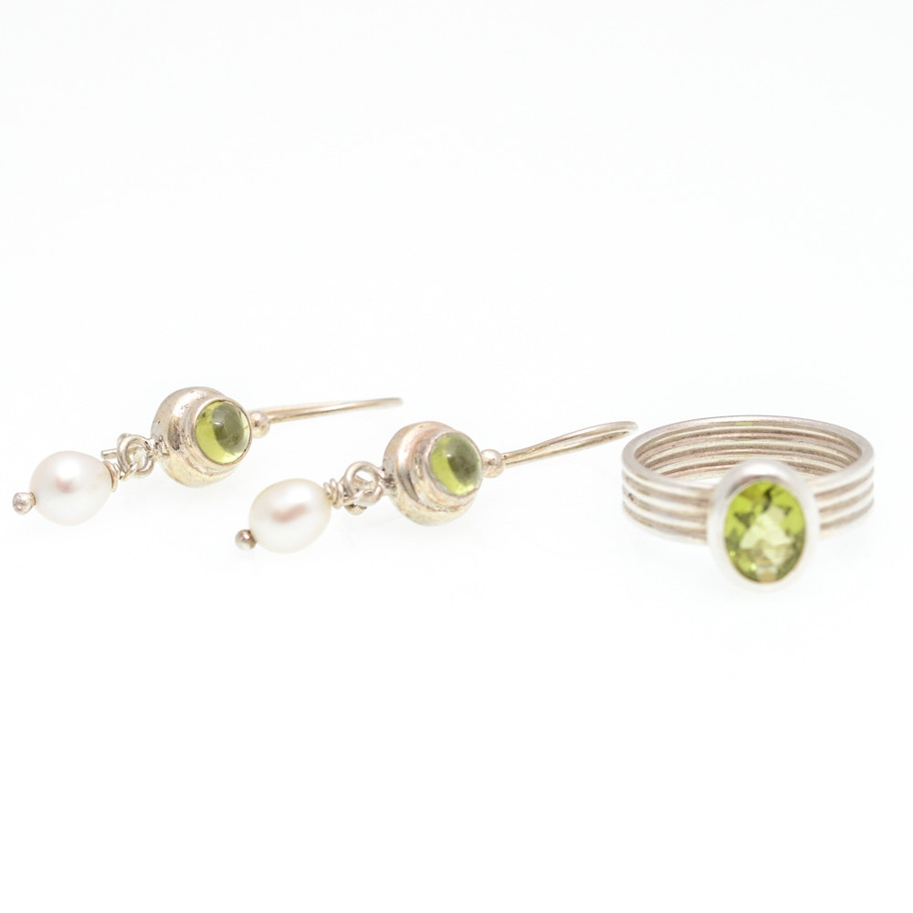 Sterling Silver Peridot and Pearl Earrings and Ring