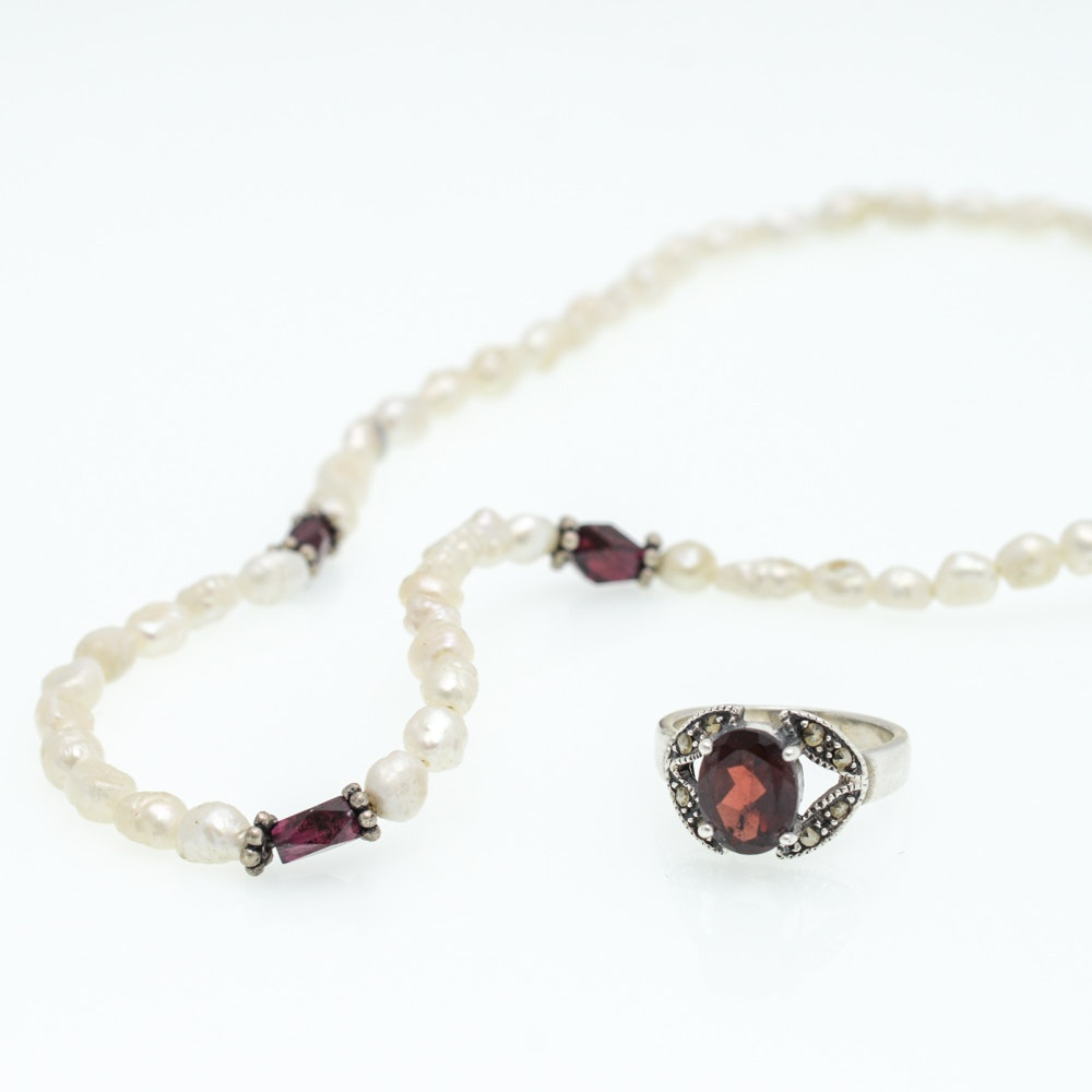 Sterling Silver Garnet Freshwater Pearl Necklace and Garnet Ring