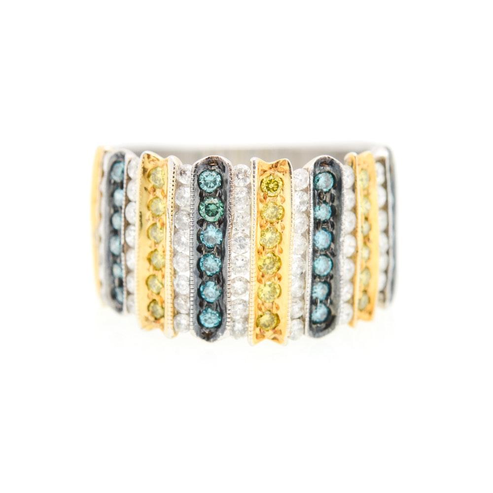14K White Gold 1.00 CTW Multi-Colored Diamond Ring