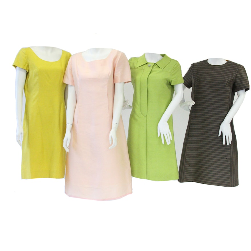 1960s Plus Size Dresses Including Alper Schwartz and Silk