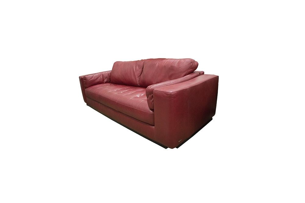 Natuzzi Red Leather Sofa ...