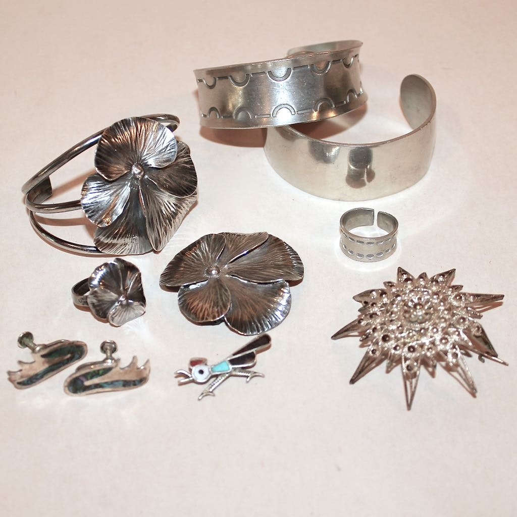 Sterling, Turquoise, and Pewter Jewelry Assortment