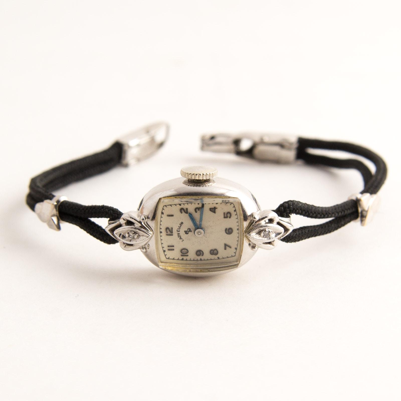 14k Gold and Diamond Lady Elgin Wristwatch