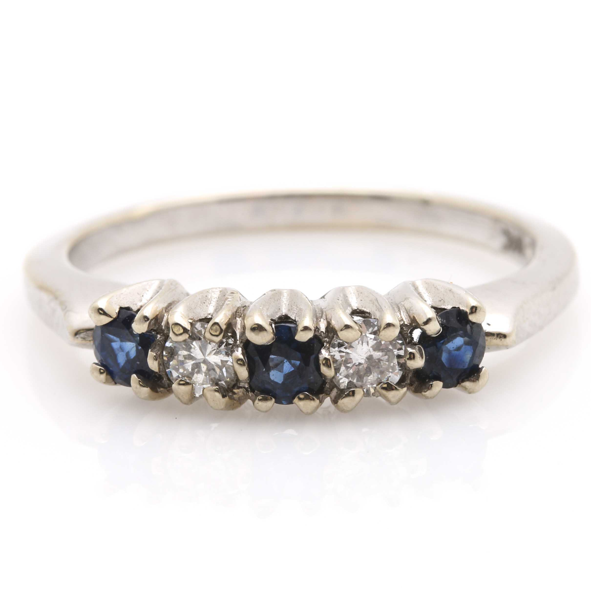 14K White Gold Blue Sapphire and Diamond Ring