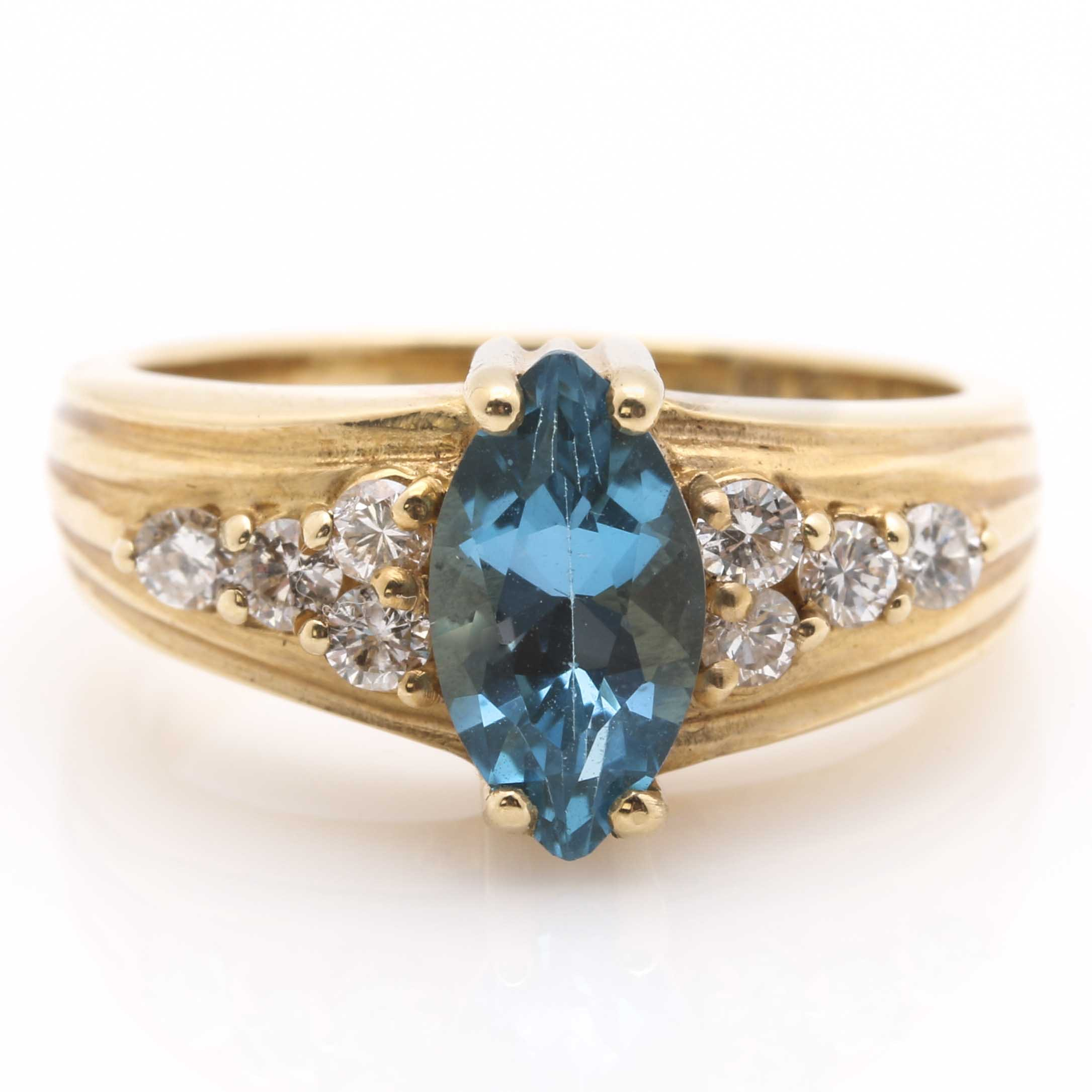 14k yellow gold blue topaz and ring ebth