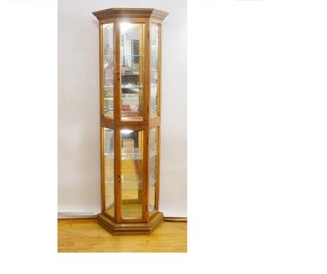 Vintage Oak lluminated Curio Cabinet