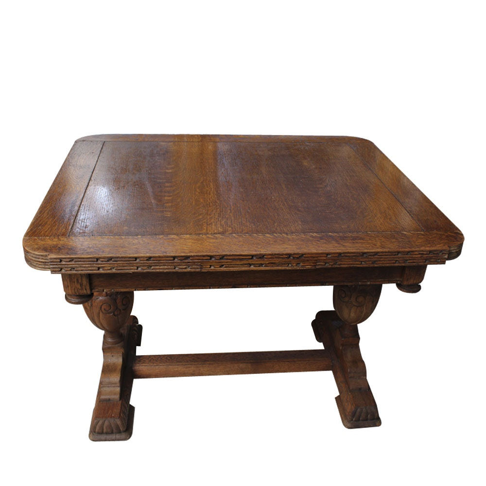 Circa 1900 Jacobean Style Oak Draw Leaf Table ...