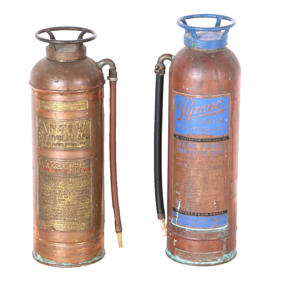 Vintage Copper Fire Extinguishers Including Arrow and Pyrene