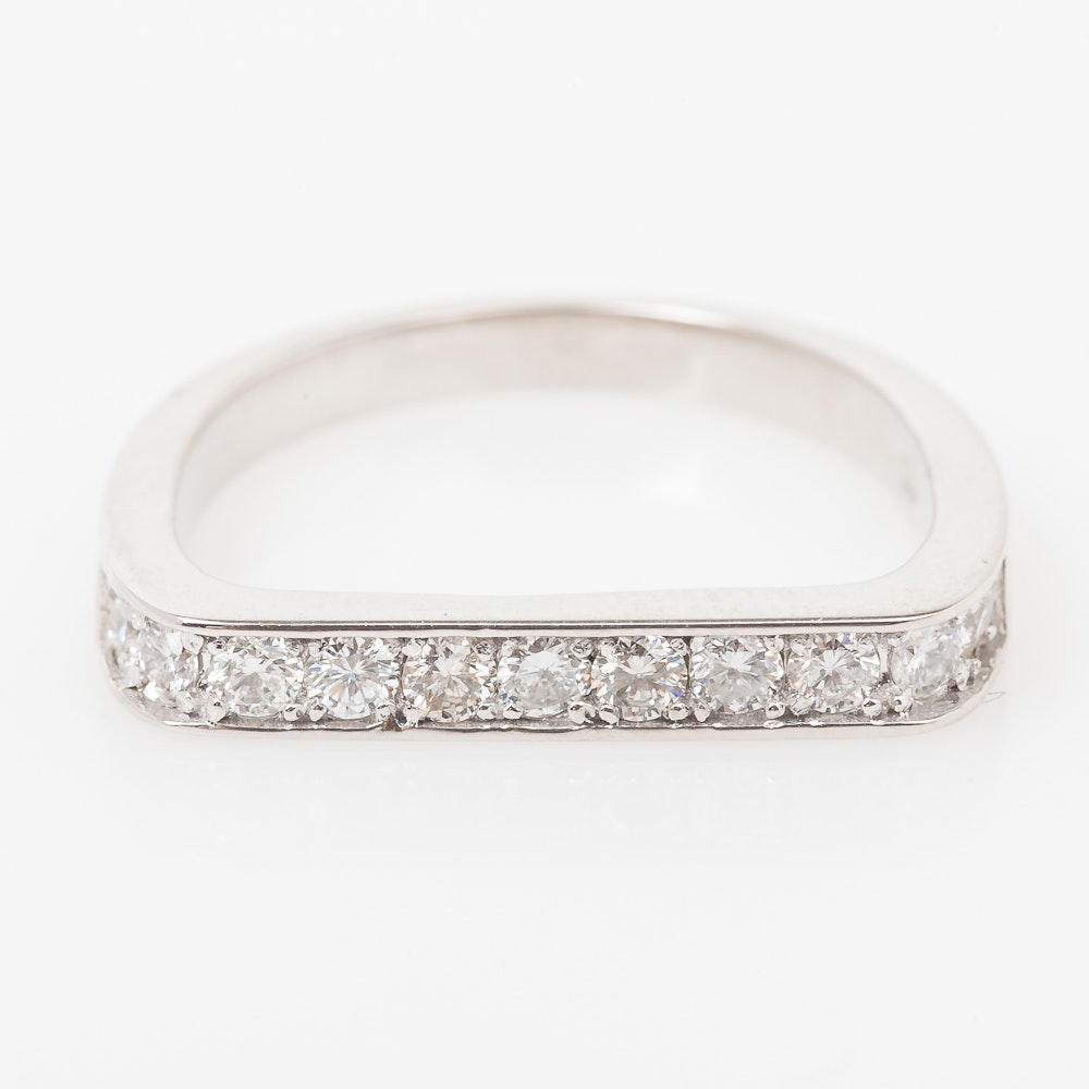 14K White Gold and Diamond Flat Top Ring