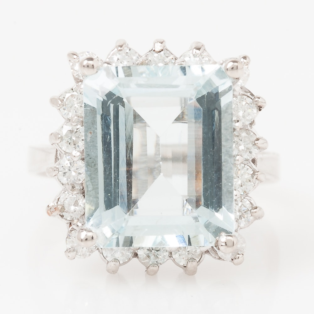 14K White Gold, Aquamarine, and Diamond Halo Ring