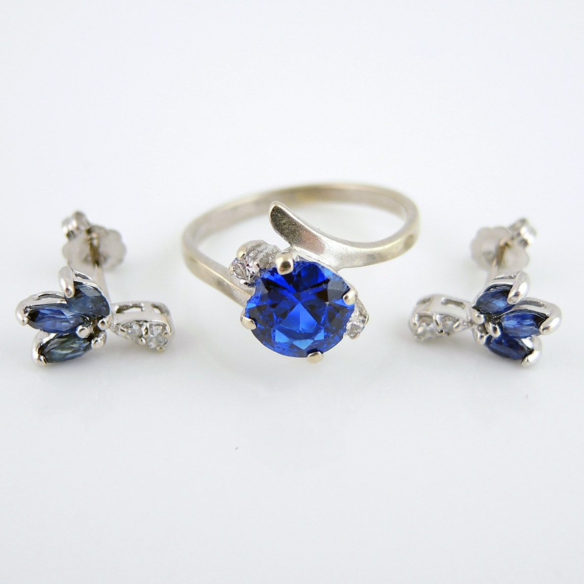 14k White Gold Earrings And 10k Ring With Blue Stones