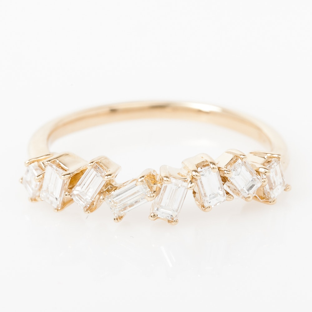 14K Yellow Gold and Staggered Baguette Diamond Ring