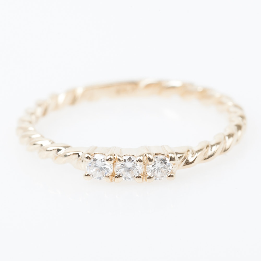 14K Yellow Gold and Three Stone Diamond Ring