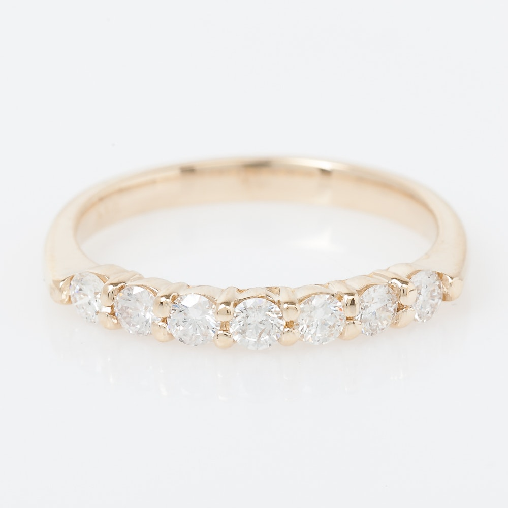 14K Yellow Gold and Diamond Band