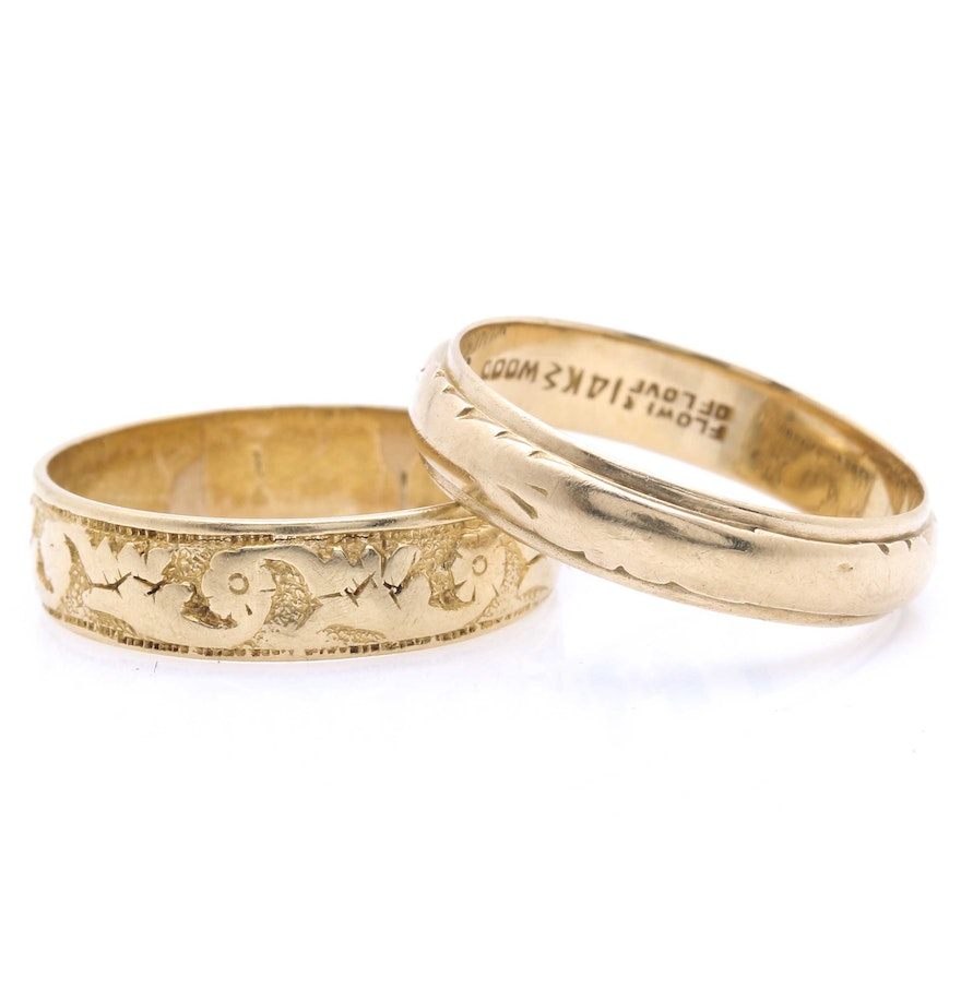 14k and 15k yellow gold vintage wedding bands vintage wedding bands 14K and 15K Yellow Gold Vintage Wedding Bands