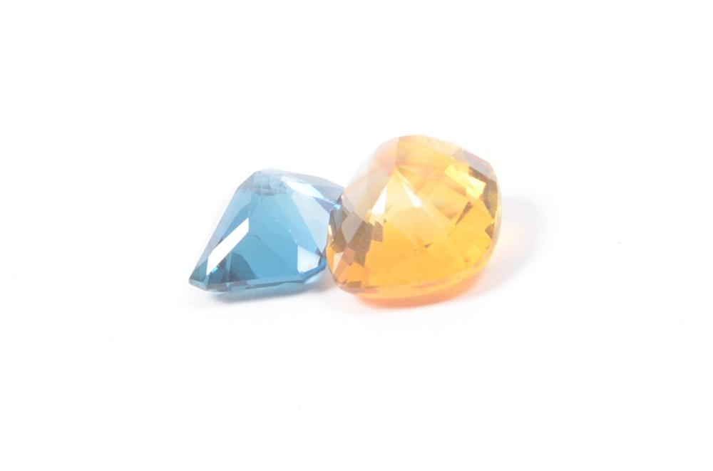9.26 CT Citrine and 7.75 CT Blue Topaz Loose Stones