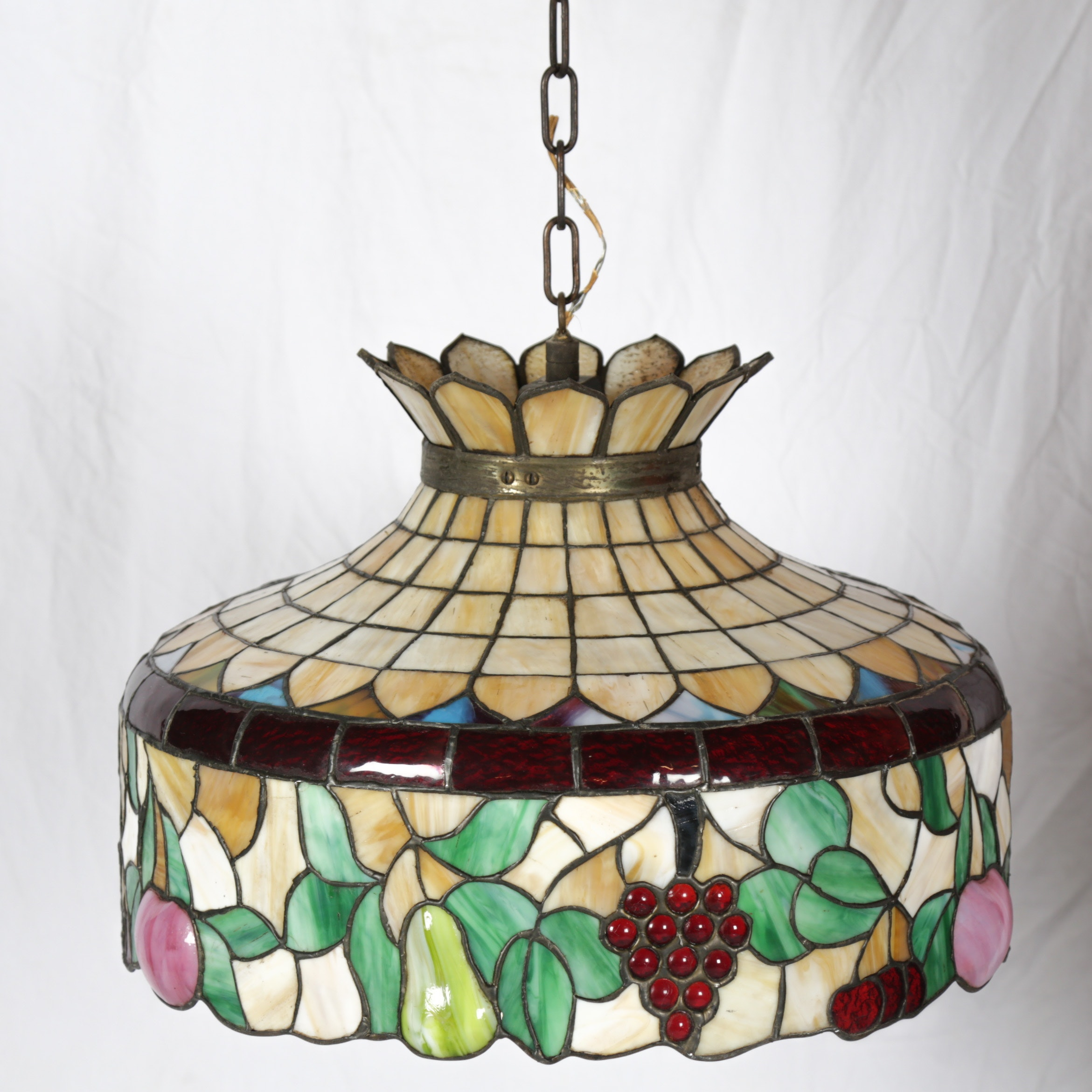 Stained Glass Fruit-Themed Pendant Light