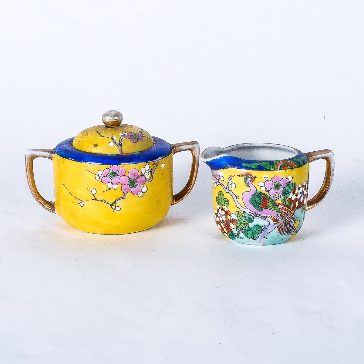 Japanese Porcelain Creamer and Sugar Bowl Set