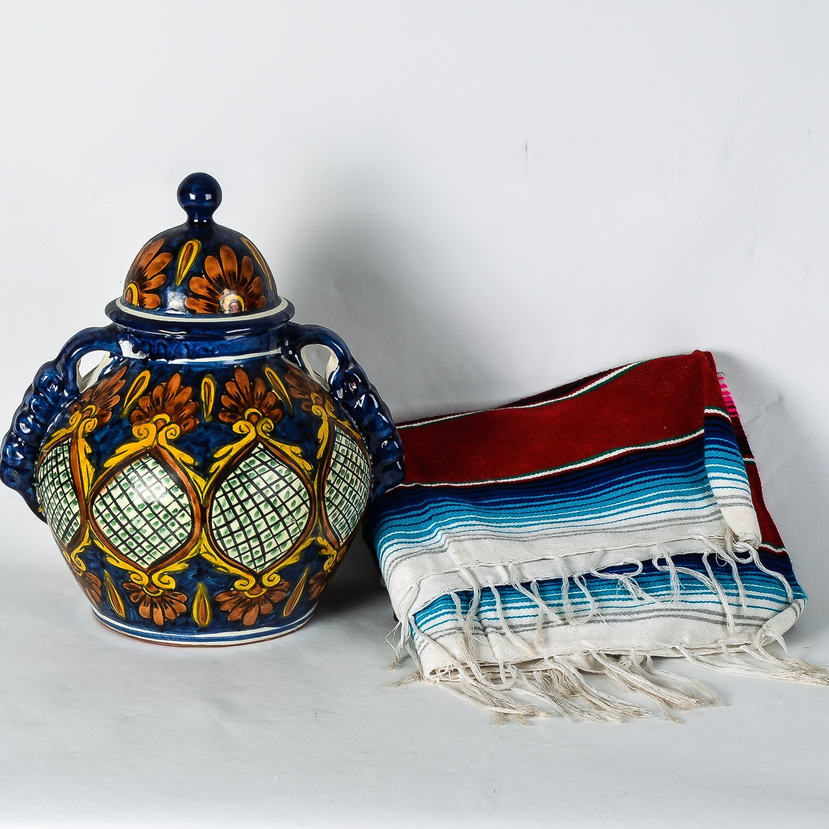 Hand Painted Mexican Pottery and Handwoven Blanket