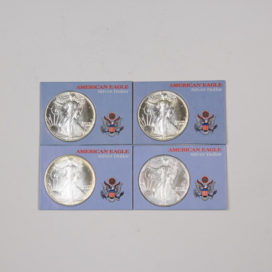 1988 1990 And 1991 American Eagle Silver Dollar Set EBTH