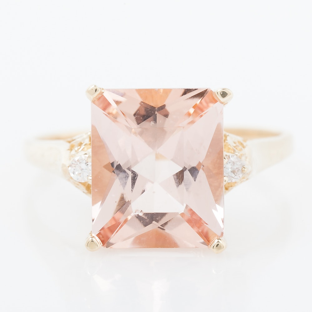 14K Yellow Gold, Morganite, and Diamond Cocktail Ring