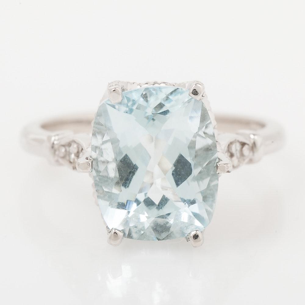 14K White Gold, Aquamarine, and Diamond Engagement Ring