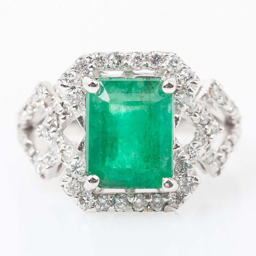 14K White Gold 3.00 Carat Emerald and 1.00 CTW Diamond Ring