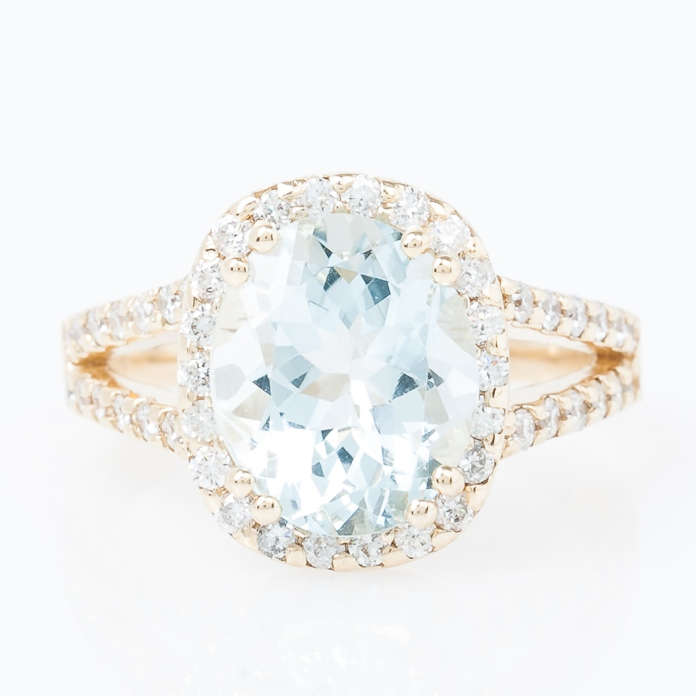 14K Yellow Gold, Aquamarine, and Diamond Split Shank Cathedral Ring