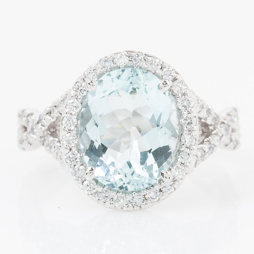 14K White Gold, Aquamarine, and Diamond Crossover Ring