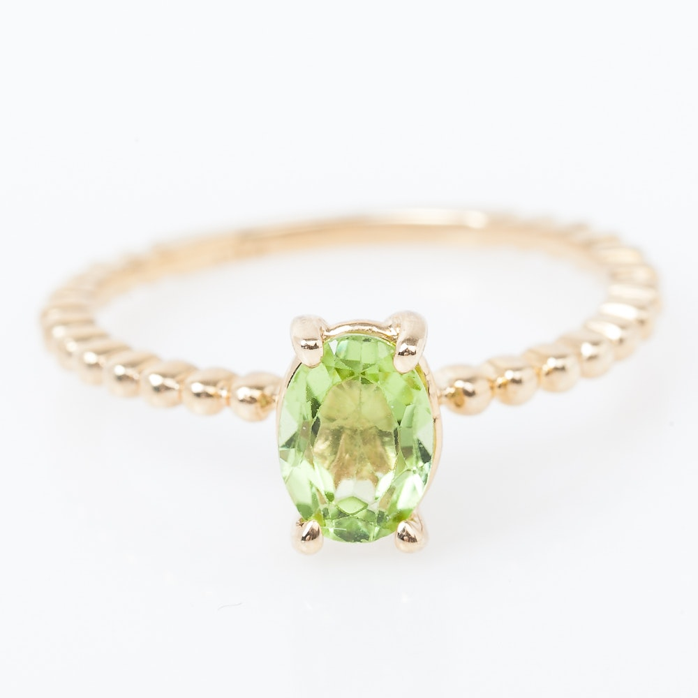 14K Yellow Gold and Peridot Solitaire Ring