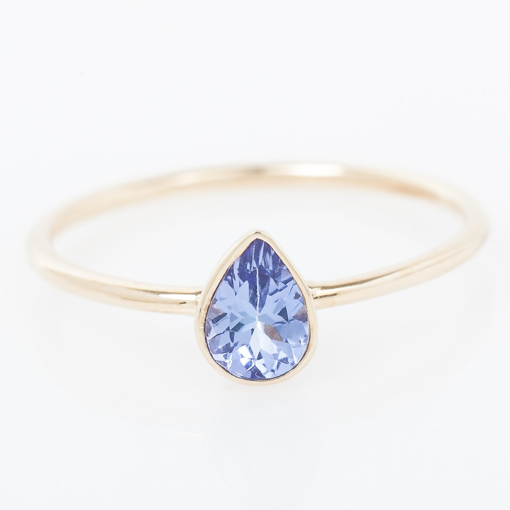 14K Yellow Gold and Bezel Set Tanzanite Solitaire Ring
