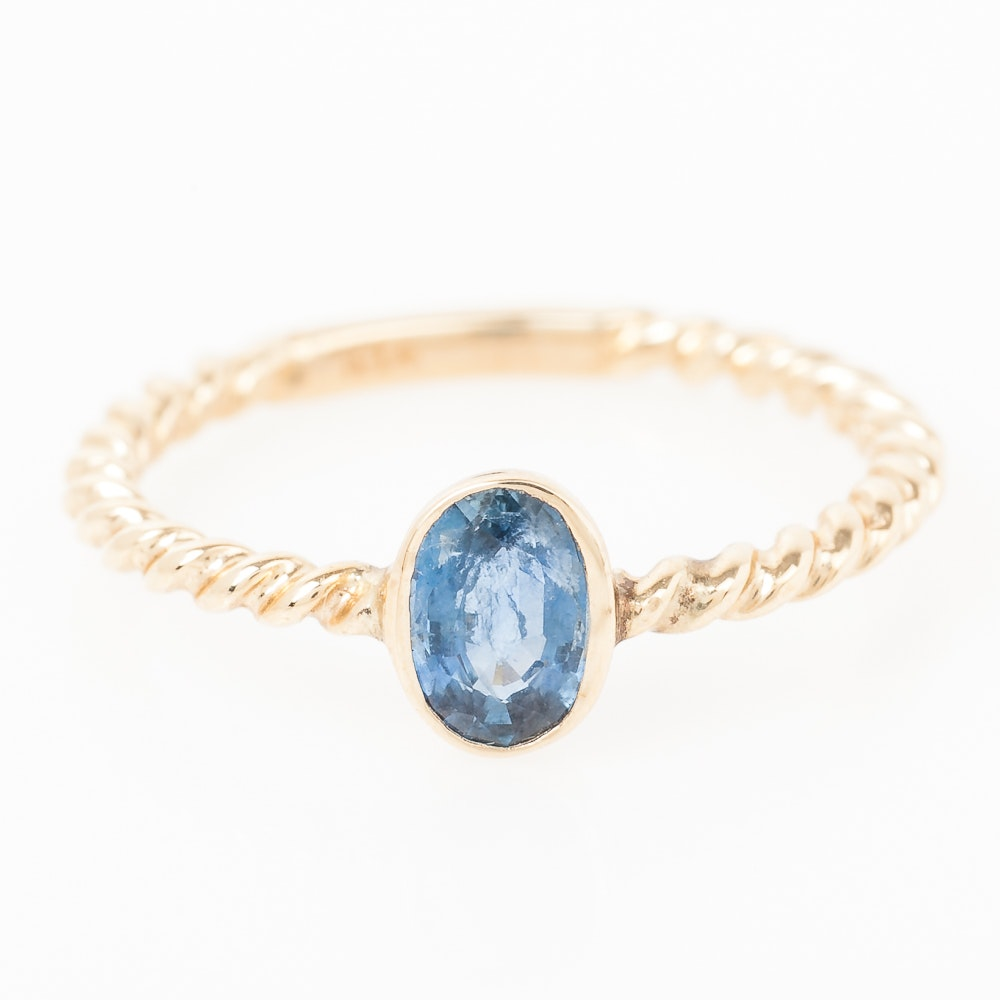 14K Yellow Gold and Bezel Set Sapphire Solitaire Ring