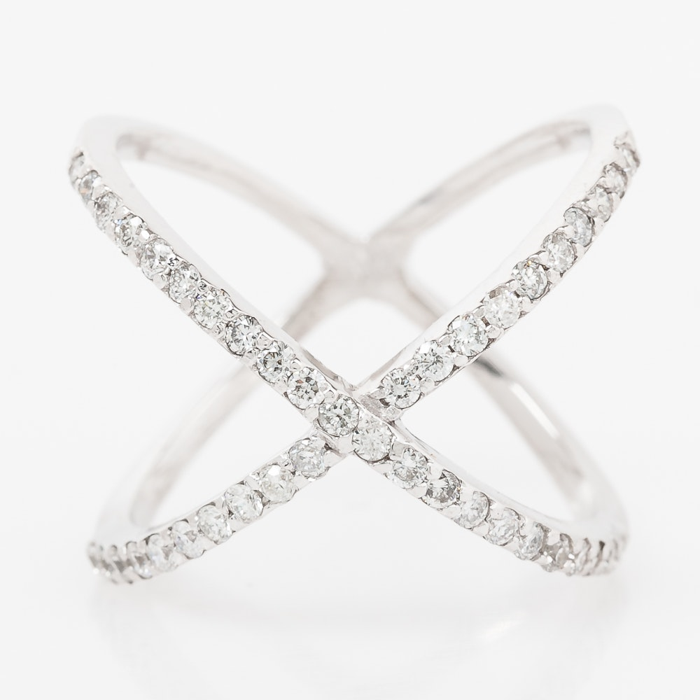 14K White Gold and Diamond Crossover Ring