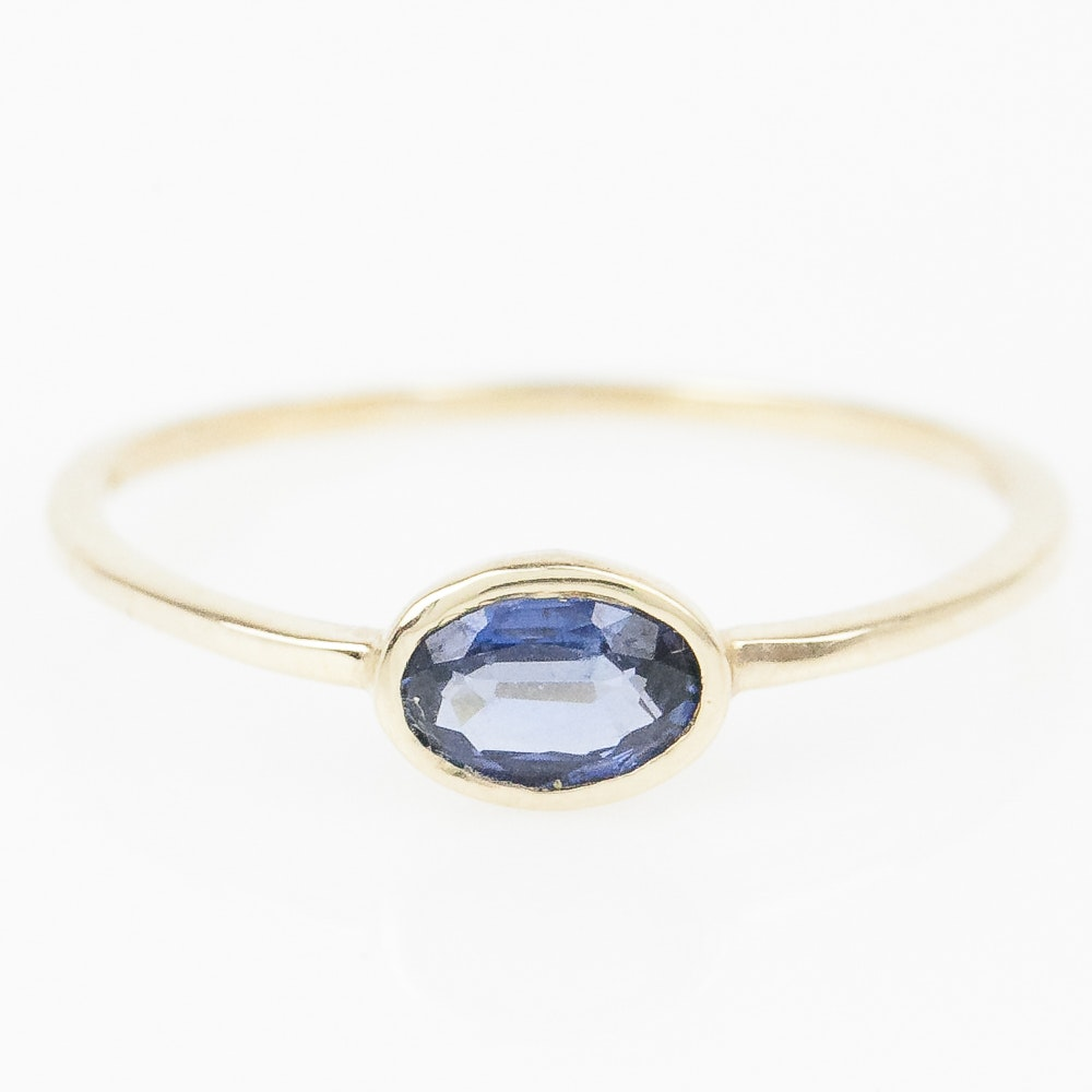 14K Yellow Gold and Sapphire Solitaire Ring