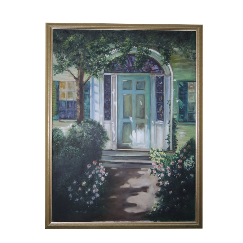 Original Oil on Canvas Painting of a Front Door