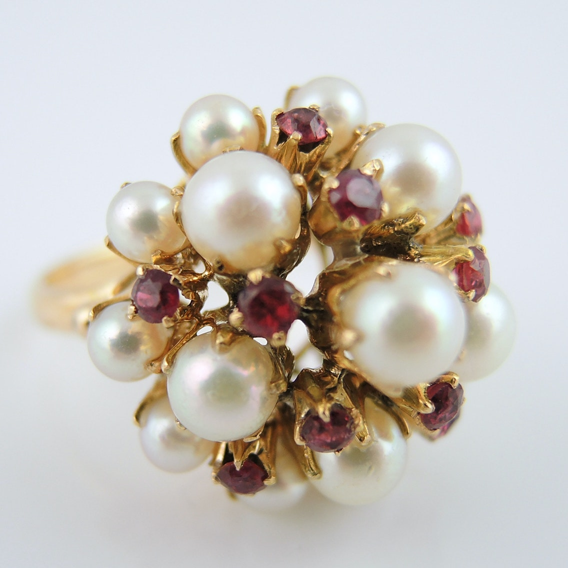 Pearl and Ruby Cluster Ring in 14K Yellow Gold