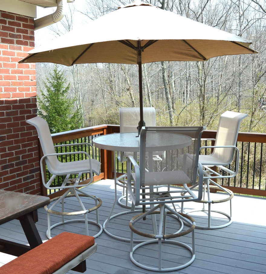 High top outdoor suncoast table and chair set with for Patio table and umbrella sets