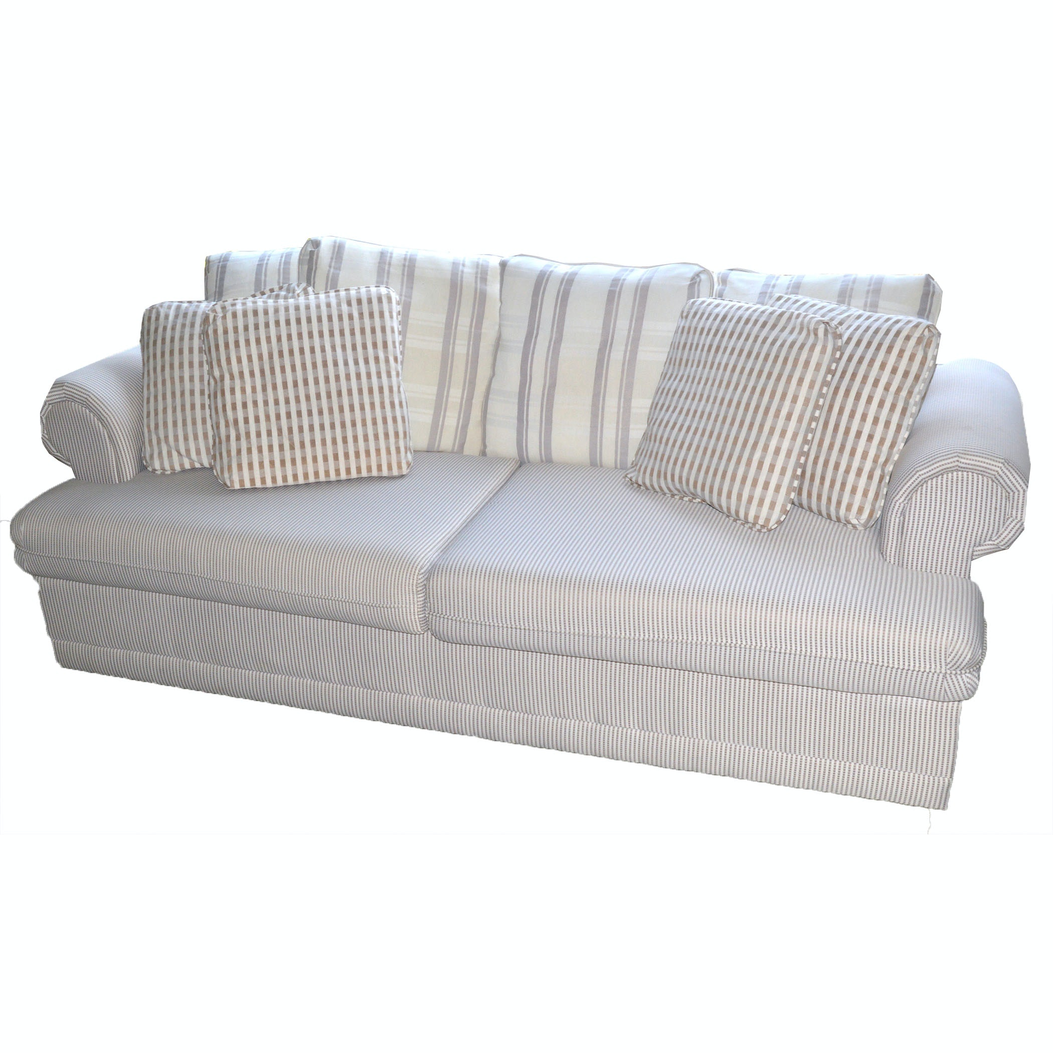 Superb Plush Fabric Sofa By Barclay Furniture Co.