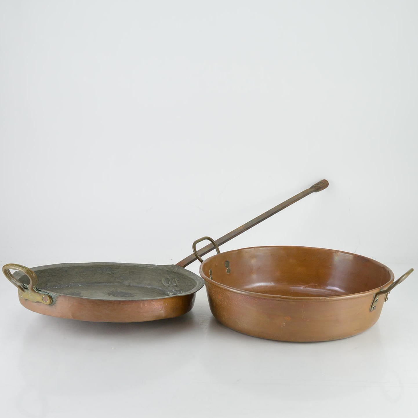 Antique Copper Poaching and Rondeau Pans