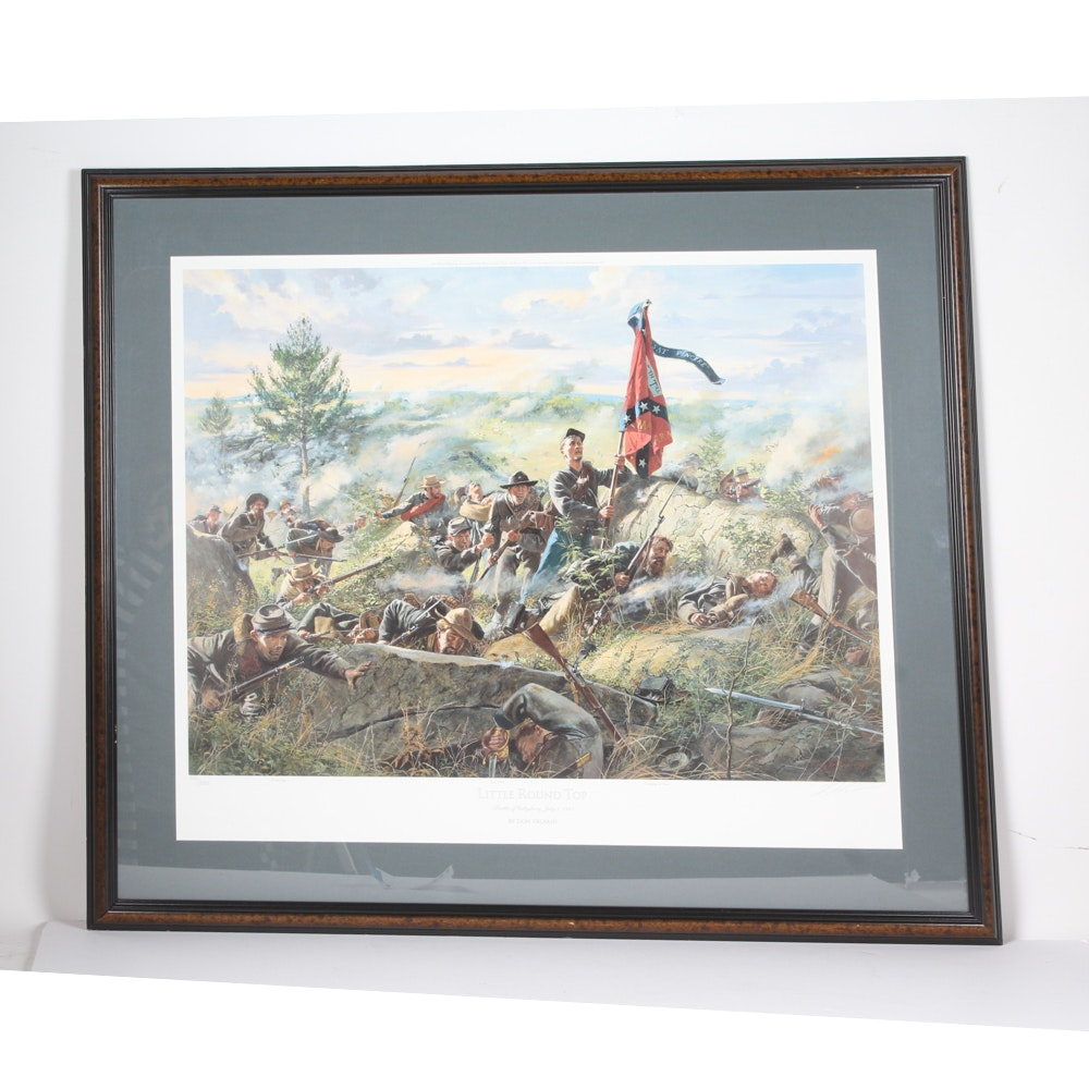 """Limited Edition Signed """"Little Round Top"""" Civil War Offset Lithograph"""