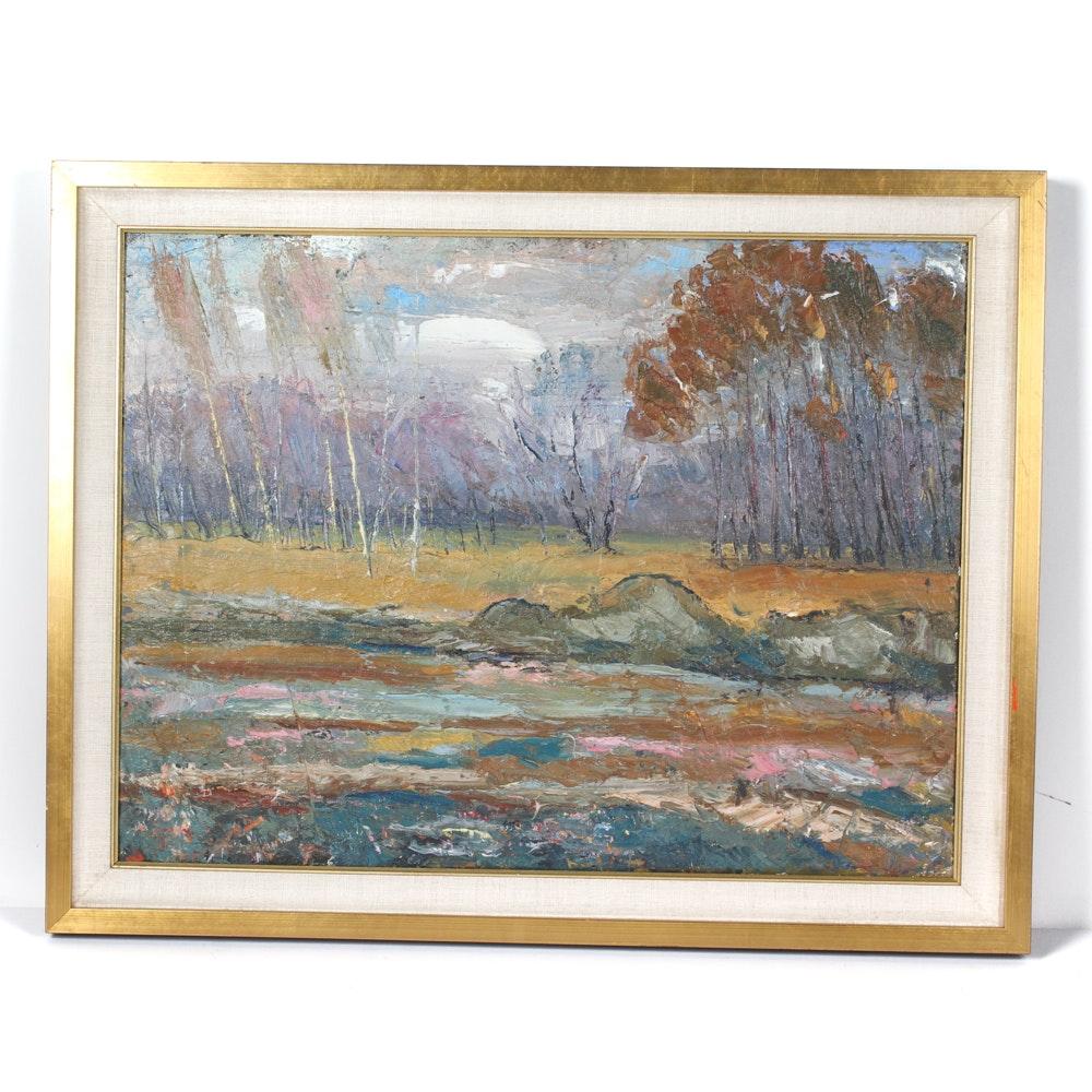 """Gradina Botanica"" Oil Painting by Ion Chitoroaga"
