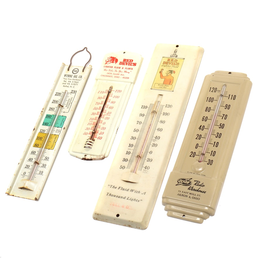 Collection of Vintage Advertising Thermometers