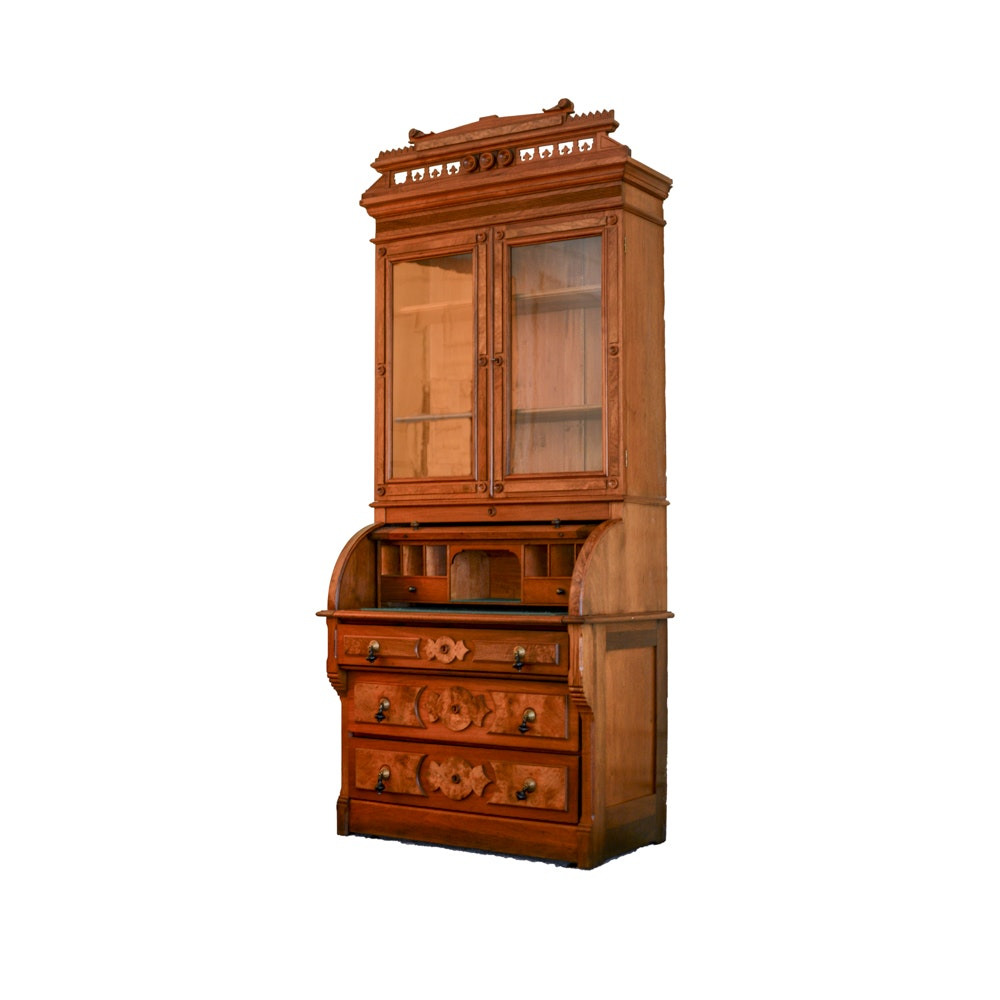 Victorian Eastlake Style Walnut Secretary